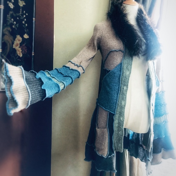 andrea Durham Designs Sweaters - Upcycled sweater coat, patchwork Katwise inspired